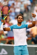 INDIAN WELLS, CA - MARCH 16: Rafael Nadal of Spain celebrates defeating Alexander Zverev of Germany in three sets during day ten of the BNP Paribas Open at Indian Wells Tennis Garden on March 16, 2016 in Indian Wells, California. (Photo by Julian Finney/Getty Images)
