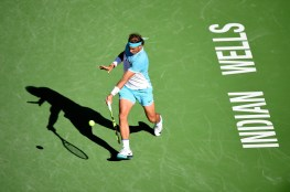 INDIAN WELLS, CA - MARCH 16: Rafael Nadal of Spain hits a forehand during his match against Alexander Zverev of Germany at Indian Wells Tennis Garden on March 16, 2016 in Indian Wells, California. (Photo by Harry How/Getty Images)