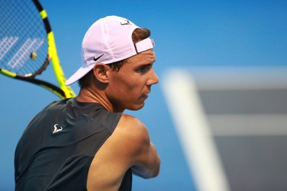 ACAPULCO, MEXICO - FEBRUARY 27: Rafael Nadal of Spain looks on after taking a backhand shot during a training session ahead of the Telcel ATP Mexican Open 2017 at Mextenis Stadium on February 27, 2017 in Acapulco, Mexico. (Photo by Miguel Tovar/LatinContent/Getty Images)