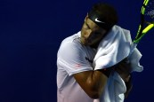 ACAPULCO, MEXICO - March 01: Rafael Nadal of Spain dries his sweat during the match between Paolo Lorenzi (ITA) and Rafael Nadal (ESP) as part of the Abierto Mexicano Telcel 2017 at the Fairmont Acapulco Princess on March 01, 2017 in Acapulco, Mexico. (Photo by Miguel Tovar/LatinContent/Getty Images)