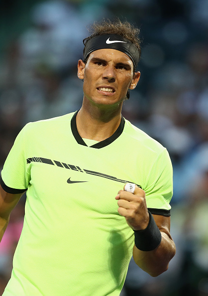 KEY BISCAYNE, FL - MARCH 26: Rafael Nadal of Spain celebrates winning a game against Philipp Kohlschreiber of Germany at Crandon Park Tennis Center on March 26, 2017 in Key Biscayne, Florida. (Photo by Julian Finney/Getty Images)