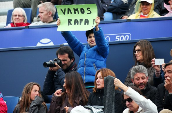 Rafa Nadal supporter during the match between Rafa Nadal and Kevin Anderson corresponding to the Barcelona Open Banc Sabadell, on April 27, 2017. (Photo by Urbanandsport/NurPhoto via Getty Images)