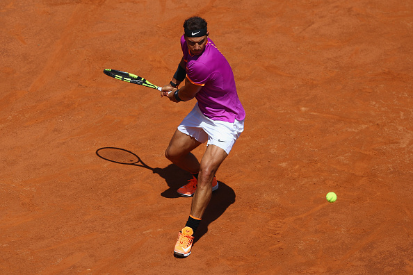 ROME, ITALY - MAY 17: Rafael Nadal of Spain in action during his second round match against Nicolas Almagro of Spain on Day Four of The Internazionali BNL d'Italia 2017 at the Foro Italico on May 17, 2017 in Rome, Italy. (Photo by Michael Steele/Getty Images)