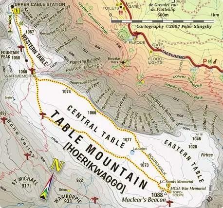 Mappa della Table Mountain