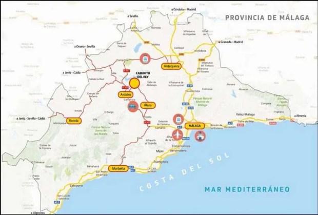 Caminito del Rey - mappa presa dal sito ufficiale http://www.caminitodelrey.info/es/6322/prepar