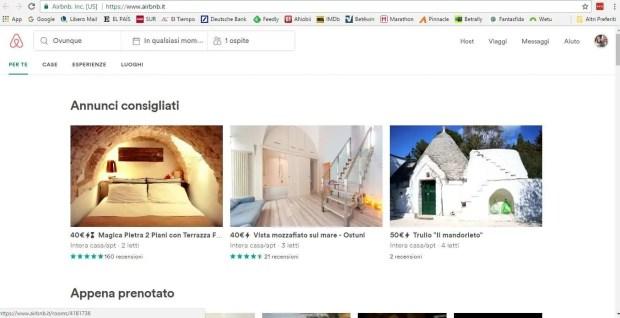 Come funziona Airbnb: l'home page