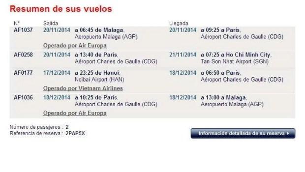 Esempio di volo multidestinazione con Air France