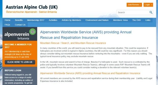 L'assicurazione offerta dall'Austrian Alpine Club