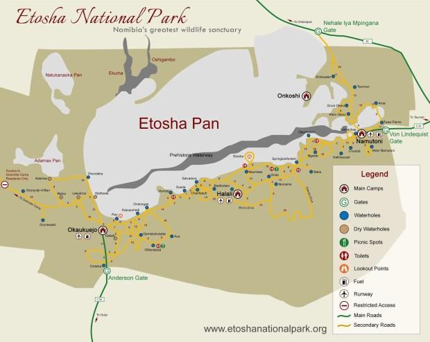 Mappa della parte orientale del Parco Etosha dal sito https://www.etoshanationalpark.org