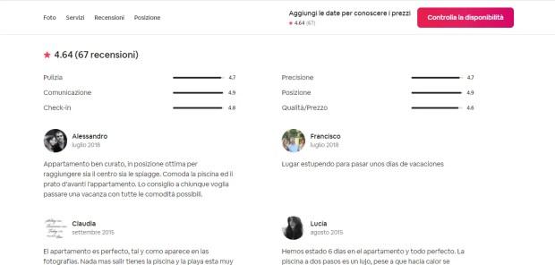 Le recensioni di un appartamento su Airbnb