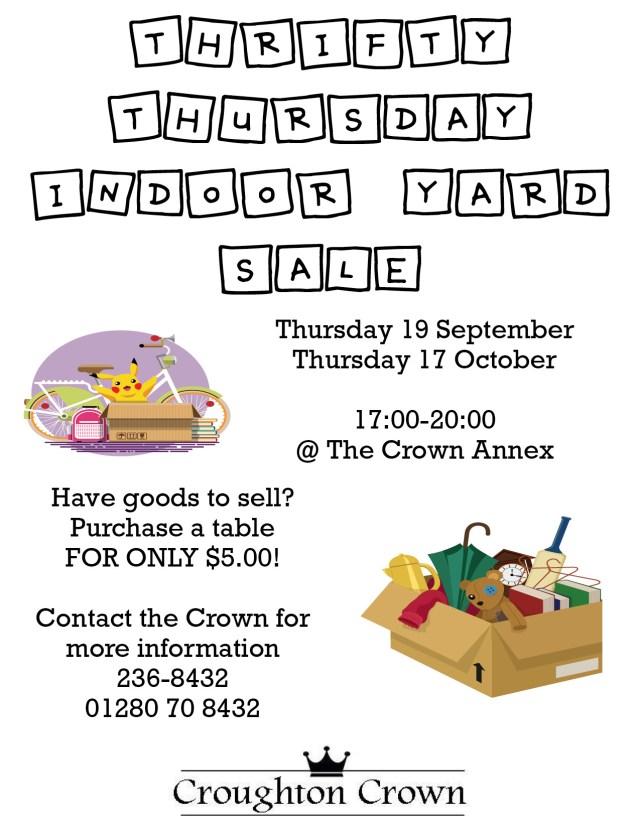 Thriefty Thursday Indoor Yard Sale