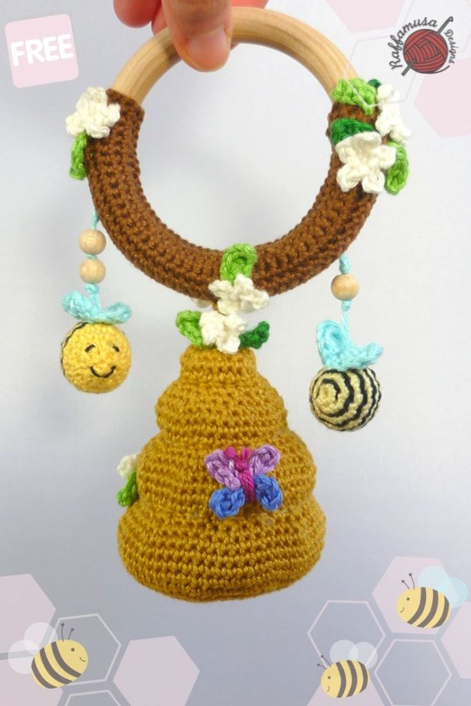 Baby Rattle Crochet Pattern Elephant 1pc With Bell Baby Toys ... | 1024x683