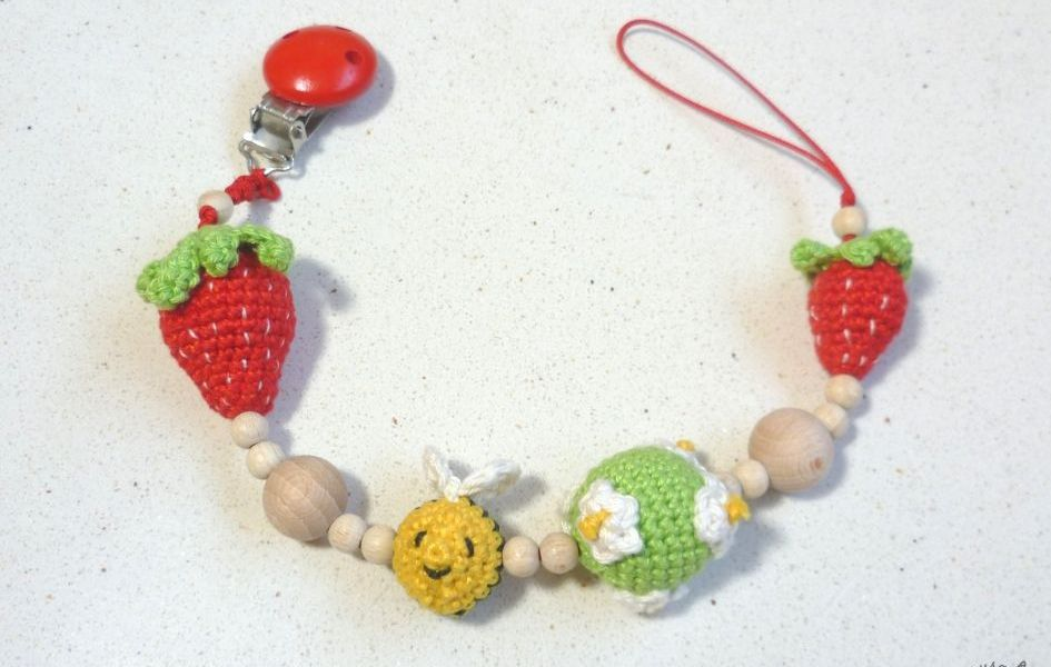 Crochet Strawberry Pacifier Clip Free Pattern