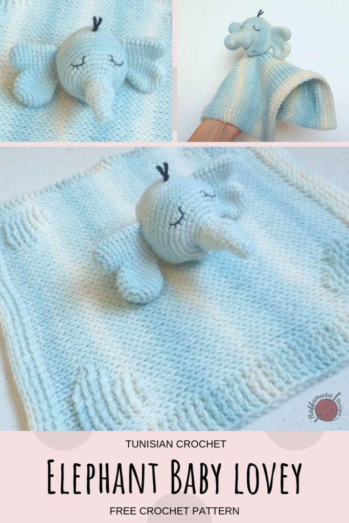 Elephant Granny Square Lovey Blanket Free Crochet Pattern | 1024x683