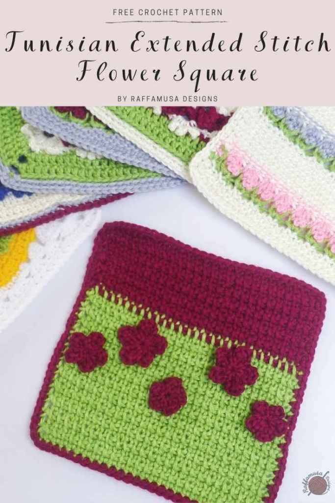 Pin the free Tunisian Extended stitch tutorial and square pattern for later!