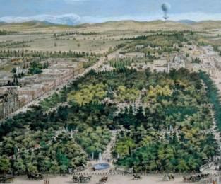 Vista de la Alameda desde un globo, 1855. Óleo sobre tela.