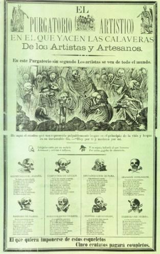 El purgatorio artístico en el que yacen las calaveras de artistas y artesanos. José Guadalupe Posada