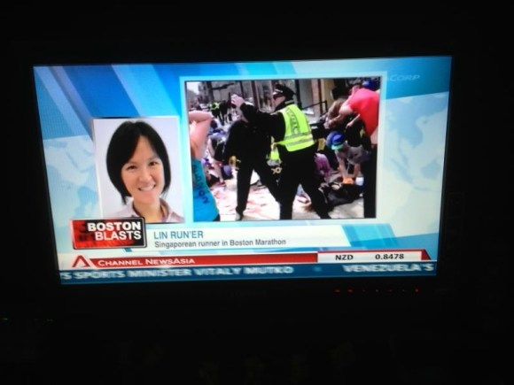Ms Lin appearing on the news after the incident