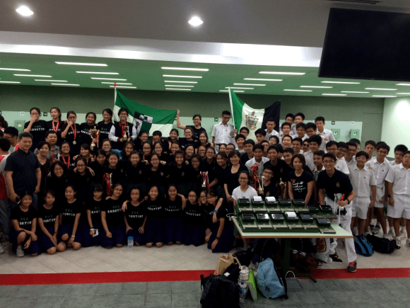 Raffles Shooting (Y1-6), with their coaches and teachers-in-charge