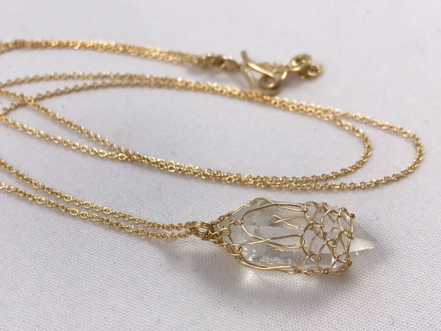 14k Gold Filled Quartz Crystal Lantern Necklace