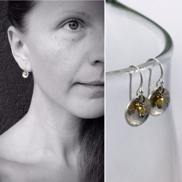 Hammered Sterling silver and 14k Solid Gold Mini Gong Earrings