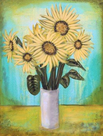 Sunflower Painting Textured Original Six Sunflowers Painting by artist Rafi Perez