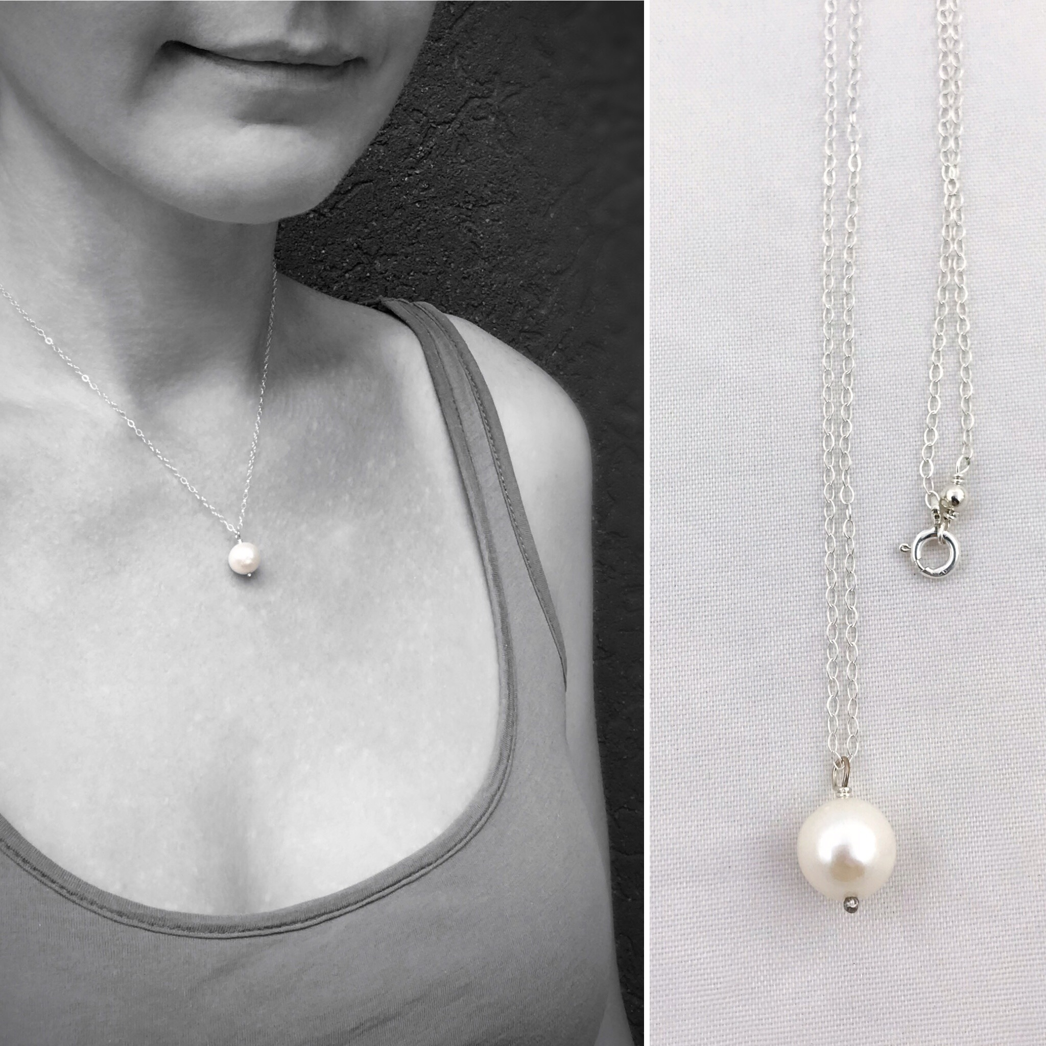 Silver Single Pearl Pendant Necklace Solid Sterling Silver