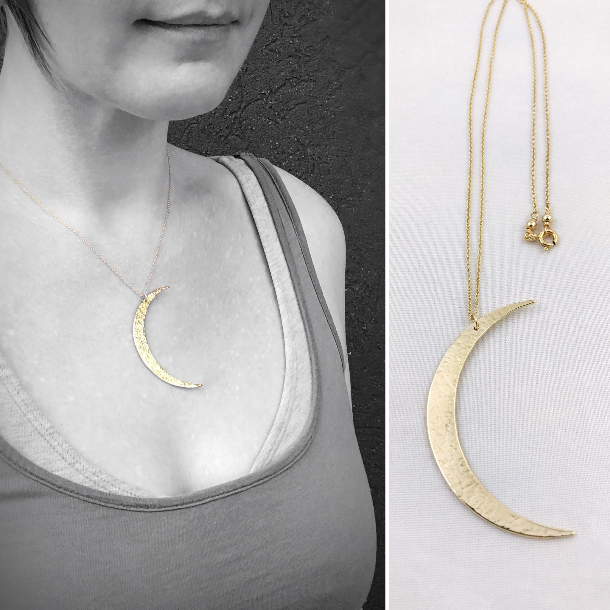 collier ooak necklace moon jewelry maxi necklace brass jewelry Crescent MOON NECKLACE BRASS necklace rigid neck jewelry design gold