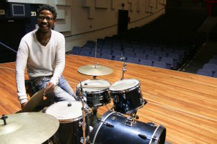 Tumi Mogorossi, packs up his band equipment, after a successful perfomance in honour of Africa Day at Wits University. He performed with the project Elo band in an intimate setting at Great Hall.