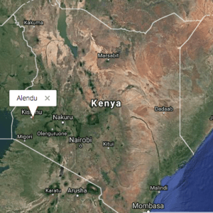 Map of Kenya with Alendu highlighted
