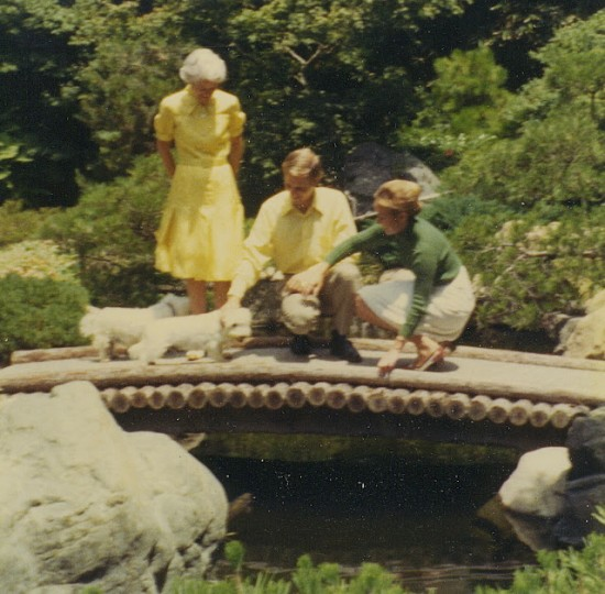Hannah Carter in the Japanese Garden with her son Jim and his wife Flip in 1970. (Photo courtesy of Caldwell family)