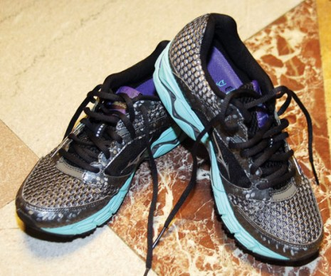 """Mizuno's Rave running shoes are Naomi's recent favorites. """"I went to a running store in Pasadena and liked it. It is light and good to run in. I picked a pink one last year and this green one is what I'm getting this year."""""""