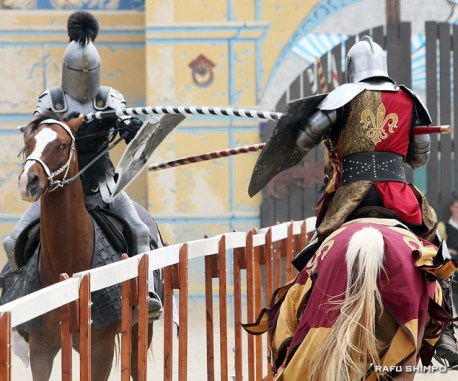 Combatants compete in the Queen's Joust, part of a program of several simulated and actual battles.