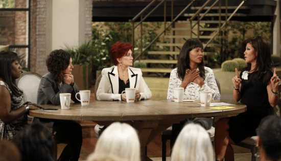 "The ladies of ""The Talk"" on Sept. 11 (from left): Sheryl Underwood, Sara Gilbert, Sharon Osbourne, Aisha Tyler and Julie Chen. (Photo by Lisette M. Azar/CBS)"