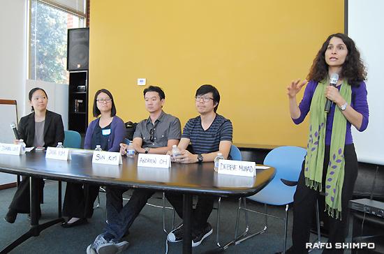 USCキャンパスで開かれたパネルディスカッション。右から、司会のムラッド教授、オー監督、脚本家のキムさん、アジア太平洋系センターのキムさん、リーガルエイド基金ロサンゼルスのリー弁護士
