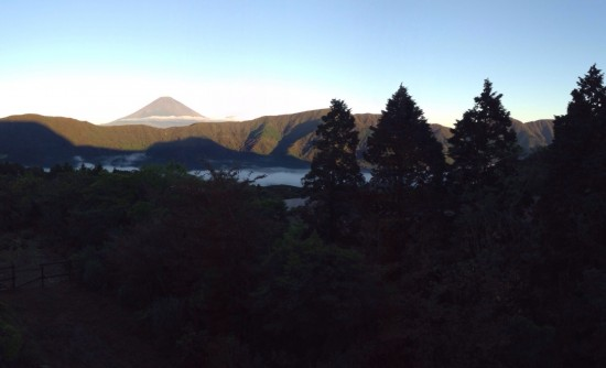 This is a shot of Fujisan that I took from a hotel window in Hakone.