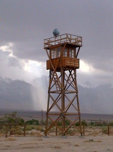 Replica of a guard tower at Manzanar National Historic Site.