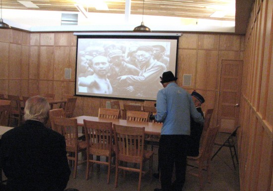 This replica of an MIS classroom is used for public events. On the screen is a photo of Harry Fukuhara talking to a Japanese POW.