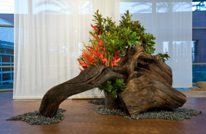 """Ikebana arrangement by Sogetsu From """"Living Flowers: Ikebana and Contemporary Art"""" (2008), curated by Karin Higa — at Japanese American National Museum."""