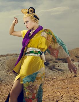 昨年6月にファッション誌「ボーグイタリア」に紹介された押元さんのモダン着物
