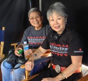 "Carole Hayashino of Japanese Cultural Center of Hawaii on the ""Hawaii Five-0"" set. (Courtesy of Carole Hayashino)"