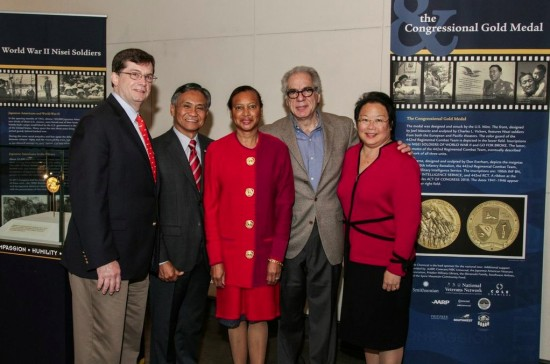 """From left: Bob Jackson, AARP Texas state director; retired Maj. Gen. Tony Taguba; Charlene Hunter-James, AARP Texas Executive Council member; Stephen Menick, writer and director of """"Honorable Journey""""; Daphne Kwok, AARP vice president of multicultural markets and engagement. (Photo courtesy of Holocaust Museum Houston)"""