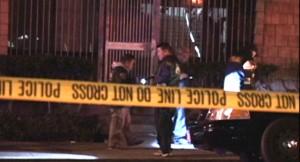 The crime scene on Post Street, across from the Sundance Kabuki Cinemas. (NBC Bay Area)