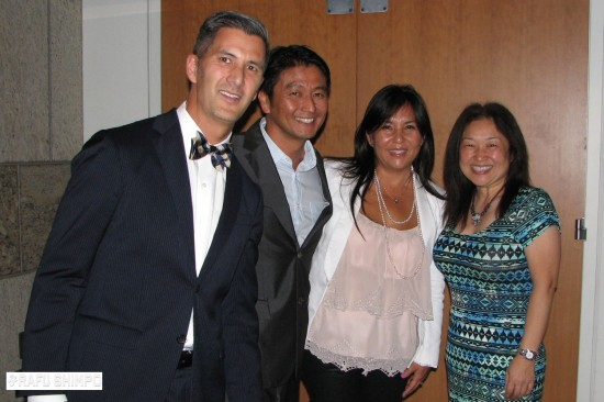 From left: JANM President and CEO Greg Kimura, former Dodgers staff member Acey Kohrogi and his wife Susan, and Tammie Kanda of Toyota Motor Sales USA Inc. (J.K. YAMAMOTO/Rafu Shimpo)