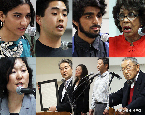 Speakers and performers included (clockwise from top left) Keiko Kawashima and Kurt Kuniyoshi of the Grateful Crane Ensemble;