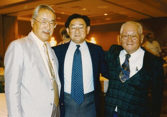 """""""Horizontal Hank"""" Gosho, Grant Hirabayashi and Roy Matsumoto at a Merrill's Marauders reunion."""