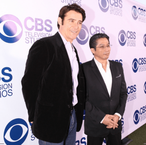 """Goran Visnjic and Hiroyuki Sanada, from then new summer show """"Extant,"""" pose for a photo on the red carpet at the 2014 CBS Summer Soiree. (CBS)"""