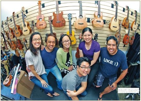 From left: Lydia Miyashiro-Ho, Daniel Ho, Leslie Ito, Jason Arimoto (front), Patrice Oyama and Brad Ranola at the JACCC's U-Space. (MIKEY HIRANO CULROSS/Rafu Shimpo)