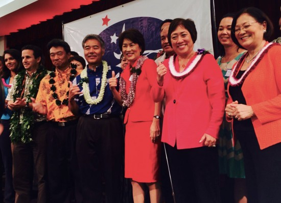 Pictured at the Democratic Unity Breakfast on Aug. 10 are (from left) Rep. Tulsi Gabbard, Sen. Brian Schatz, State Sen. David Ige and his wife Dawn, and U.S. Sen. Mazie Hirono.