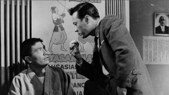 "James Shigeta and George Yoshinaga in a scene from ""The Crimson Kimono"" (1959)."